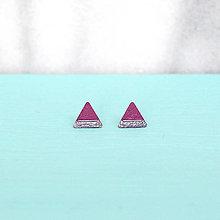 Náušnice - Fialové náušnice v tvare trojuholníka - 6807132_