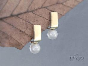 Náušnice - 585 / 14k zlaté náušnice s prírodnými perlami - 6810161_