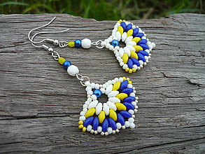 Náušnice - Náušnice Vejárky Bílo-žluto-modré - 6810831_