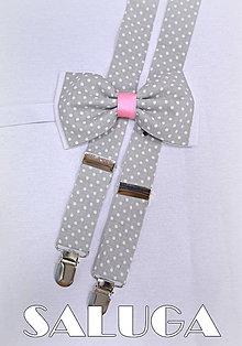 Doplnky - Set traky + motýlik bodkovaný RETRO - 6810651_