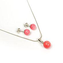 Sady šperkov - Korálový set růžový, pecičky a přívěsek na řetízku, Ag 925 - 6809198_
