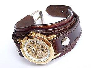 Šperky - Hnedý kožený náramok s mechanickými hodinkami - 6809312_