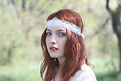 Ozdoby do vlasov - Biela čelenka čipkovaná na svadbu - 6810810_