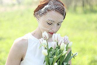 Ozdoby do vlasov - Svadobný závoj s perlami - 6809671_