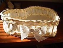 Košíky - Biele svadobné srdiečko - 6808645_