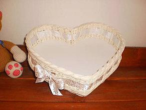 Košíky - Biele svadobné srdiečko - 6808648_