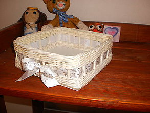 Košíky - Biely svadobný štvorček - 6810228_