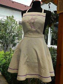 Iné oblečenie - Ľanová zásterka motýľ - 6812346_