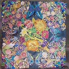 Šatky - Hodvábna maľovaná šatka - V znamení kvetov - 6811430_
