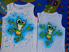 Detské oblečenie - maľované tričko žabka - 6812151_
