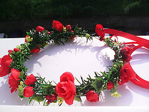 """Ozdoby do vlasov - Kvetinový venček do vlasov """"Ohnivá červená"""" - 6812879_"""