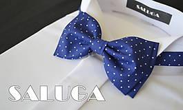 - Retro - modrý motýlik na biele bodky - 6813196_