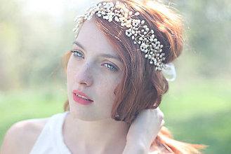 Ozdoby do vlasov - Perlová čelenka na svadbu - 6813469_