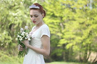 Ozdoby do vlasov - Svadobná tiara s perlami a strieborným štrasom - 6813543_