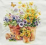 - S726 - Servítky - sirôtky, narcisy, motýľ - 6814176_