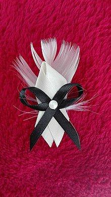 Pierka - Krémovo-čierne svadobné pierko - 6815908_