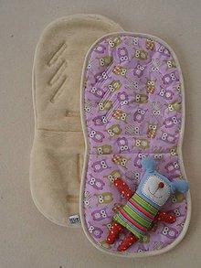 Textil - Ovčie rúno Univerzálna podložka do kočíka celoročná Sovičková francúzsky dizajn - 6816325_