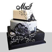 Dekorácie - Zapichovacie iniciály na svadobnú tortu (Strieborná - spojené písmená) - 6813880_