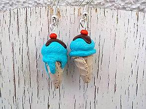 Náušnice - zmrzliny náušnice (šmolková) - 6816055_