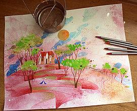 Kresby - len niekedy sú večery ružové - 6819231_