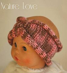 Detské doplnky - Pletená čelenka z ručne farbenej baby merino vlny - 6818443_