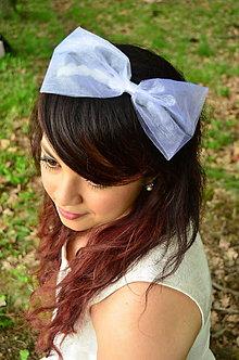 Ozdoby do vlasov - SUPER CENA! Svadobná čelenka Bílá mašle - 6816730_