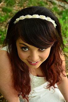 Ozdoby do vlasov - SUPER CENA! Svadobná čelenka Ivory Roses - 6816763_