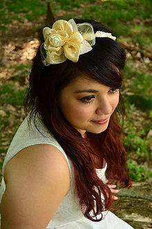 Ozdoby do vlasov - SUPER CENA! Svadobná čelenka Ivory Rose - 6816800_