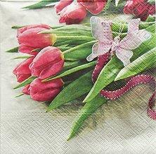 Papier - S731 - Servítky - tulipán, motýľ - 6816642_
