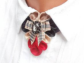Náhrdelníky - Elegancia a la Chanel - červenočierny náhrdelník s károvanou mašľou de Luxe - 6819042_