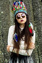 Ozdoby do vlasov - Pestrofarebná bohémska čelenka - 6819534_