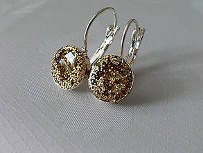 Náušnice - Golden Glitter Earrings - 6817014_