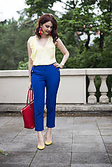 Nohavice - Modré nohavice skrátenej dĺžky - 6819018_