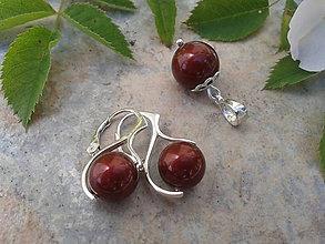 Sady šperkov - Sada Swarovského bordové perličky - 6821881_