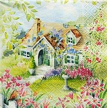 Papier - S732 - Servítky - domček, záhrada, akvarel - 6822084_