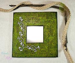 Zrkadlá - Romantické vintage zrkadlo - Elfské zelené - 6820015_