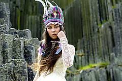 Ozdoby do vlasov - Bielo-rúžovo-tykysová boho čelenka. - 6820116_