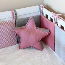 Úžitkový textil - Ružovo-šedá hviezda - 6821262_