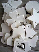 Dekorácie - Ozdoby vianočné biele - sada Keď biele, tak biele... - 6824317_