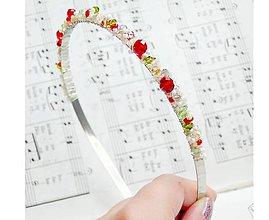 Ozdoby do vlasov - Wild Strawberries / Korálková čelenka - 6825158_