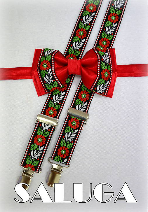 Folklórny - folkový set - motýlik + traky vhodný na oslavu, svadbu, pre družbu, ženícha, na redový tanec