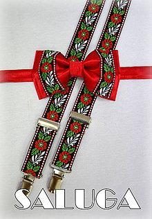 Doplnky - Folklórny - folkový set - motýlik + traky vhodný na oslavu, svadbu, pre družbu, ženícha, na redový tanec - 6824389_