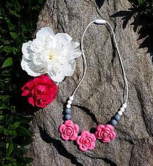 "Detské doplnky - Silikónový náhrdelník na kojenie ""Ružový sad"" - 6826719_"