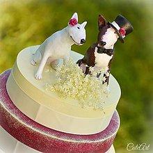 Dekorácie - Figúrky na svadobnú tortu - bulteriér podľa fotografie - 6825662_