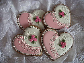 Dekorácie - Medovníkové srdiečka bielo-ružové - 6829292_