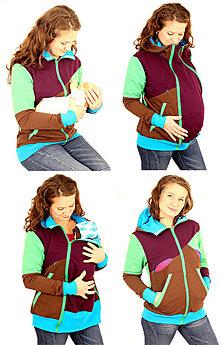 Tehotenské oblečenie - 4v1 MIKINA - dojčiacia, tehotenská, nosiacia a normal - 6829354_