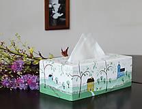 Krabičky - Ručne maľovaný servitkovník s krajinkou - 6827508_