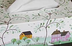 Krabičky - Ručne maľovaný servitkovník s krajinkou - 6827517_