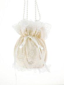 Kabelky - Pompadúrka ivory svadobná , kabelka pre nevestu 6KL - 6833664_