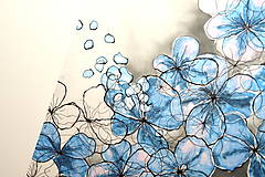 Obrazy -  OBRAZ HORTENZIE - maľba na prírodnom hodvábe. - 6831527_